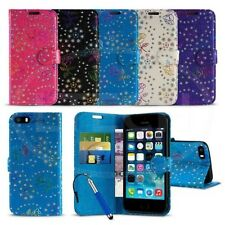Apple iPhone 5 / 5S - Textured Diamond Flower Wallet Case Cover w/ SP & Ret Pen