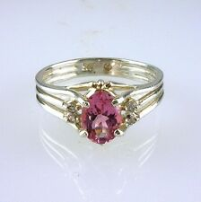 Natural Pink Tourmaline & White Topaz Solitaire Ring 925 Sterling Silver Size 10
