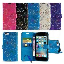Apple iPhone 6s (4.7 inch) - Textured Diamond Flower Wallet Case Cover &Mini Pen