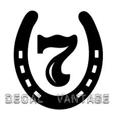 Lucky 7 Horseshoe Vinyl Sticker Decal Luck Race Horse Shoe - Choose Size & Color
