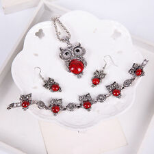 Cute Inlaid Turquoise Owl Pendant Necklace Earrings Bracelet Jewelry Set