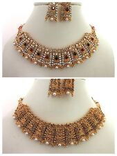 Indian Traditional Bollywood Bridal Gold Tone Kundan Pearls Fashion Jewelry Set