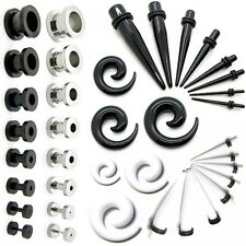 1x or Set of Stainless Steel Flesh Tunnel/Acrylic Taper or Spiral Taper