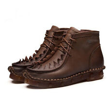 DESIGNER HANDMADE LEATHER SHOES VINTAGE OXFORD LACE UP ANKLE BOOTS