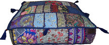INDIAN SARI PATCHWORK BLUE CUSHION COVER OTTOMAN/FLOOR/SOFA SQUARE SEAT COVER