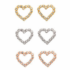 14K Gold, Rose Gold, or Rhodium Plated Crystal Heart Earring