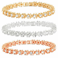 14K Gold, Rose Gold, or Rhodium Plated Round Crystal And Metal Linked Bracelet