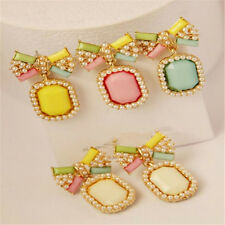 Brief Elegant Bow Earrings Fashion Gem Stud Earring Color Candy Pearl 1Pair Stud