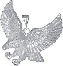 Sterling Silver Eagle Charm Pendant Necklace Diamond Cut Finish 3 Inches 31 Gram