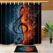 Water and fire notes Home Bathroom Decor Waterproof Shower Curtain & 12Hooks