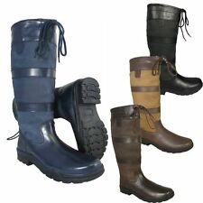 NEW ADULTS BLACK BROWN TALL RIDING YARD WALKING LEATHER COUNTRY BOOTS SIZE 3-12