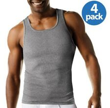 Hanes Mens Tagless Tanks, 4 Count (2 Black AND 2 Gray per pack) Med/ XL