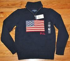 NWT Polo Ralph Lauren Boys Half Zip USA American Flag Pullover Sweater $89 *F5
