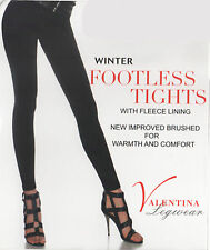 Women Ladies Girls Footless Tights Warm Winter Thermal Tights With Fleece Lined