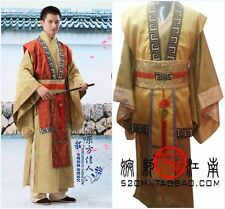 Chinese Man Han Clothing Emperor Prince Show Cosplay Suit Red&Yellow Robe Costum