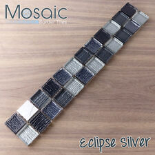 Eclipse Silver Mosaic - Glass & Brushed Metal Mosaic Border Tiles