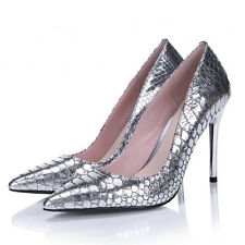 WOMEN SHOES DESIGNER SILVER LEATHER WEDDING BRIDAL EVENING PARTY HIGH HEELS