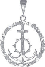 Sterling Silver Anchor Cross Pendant Necklace Nugget Design Diamond Cut Finish