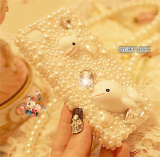 24#CUTE PEARL DOLPHIN DIY Handmade Bling Crystal Pearl iPhone 5/5S/SE CASE COVER