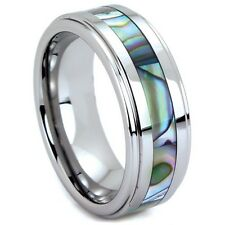 Men's Tungsten Carbide Wedding Band with Abalone Shell Inlay