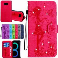 Lovely Girl Rhinestone Flip Wallet Leather Card Case Cover For Samsung Galaxy S8