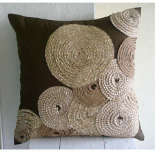Spiral Jute 40x40 cm Art Silk Brown Cushions Cover For Couch - Adorned By Jute