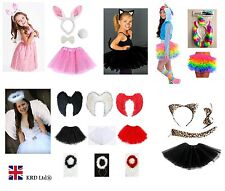Kids Angel Fairy Feather Wings Halo Fancy Dress Costume Cat Leopard Outfit Party