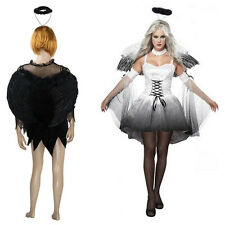 Corpse Bride Costume Hen Night Party Fancy Dress Outfit With Feather Angel Wings