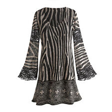Tunic Top - Zebra Print Bell Sleeve Blouse with Lace