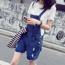 New Women Ripped Casual Jeans Denim Fringe Overalls Shorts Jumpsuit Romper Pants