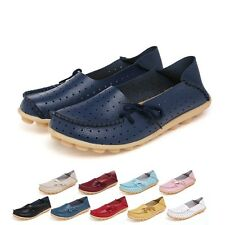 Womens Casual Comfy Leather Shoes Walking Flats Flat Slip Moccasin Loafers US