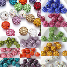 20PCS 8mm 10mm Czech Crystal Rhinestones Pave Clay Round Disco Ball Spacer Beads