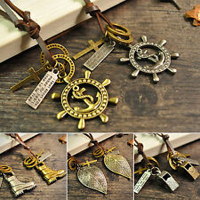 Unsex Leather Rope Anchor Leaf Shoe Key Feather Ring Pendant Cord Necklace Alert
