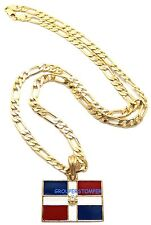 Dominican Republic Flag Small Pendant Necklace With 24 Inch Long Figaro Chain