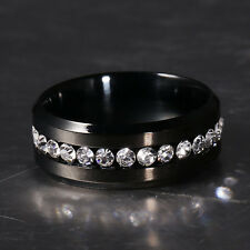 Men Stainless Steel Wedding Engagement Black Silver Band Ring Woman Size 7-12