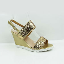 WOMENS LADIES CHUNKY SOLE STRAPPY WEDGE HEEL GLITTER SANDALS SHOES SIZE 3-8
