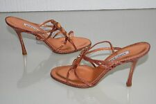 $1190 NEW MANOLO BLAHNIK SANDALS CORAL SNAKE JEWELED CRYSTALS STRAPPY SHOES 41.5