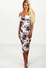 BARDOT MIDI PARTY WIGGLE CREAM FLORAL STRETCH DRESS BNWT 8-14 RRP £65