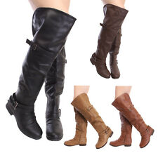 Women's Low Flat Heel Over Knee Sexy Hot Slouch Thigh Buckle Zipper Riding Boots
