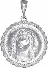 Sterling Silver Jesus Medallion Charm Pendant Necklace Diamond Cut Finish
