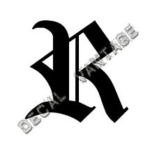 Old English R Letter Initial Vinyl Sticker Decal Font Diploma Choose Size &Color