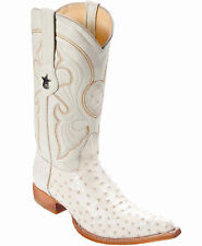 Los Altos Genuine WINTER WHITE Ostrich 3X Toe Boots Handmade Western Cowboy EE+