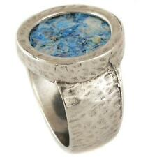 925 Sterling Silver Roman Glass Ring Hammered Round Framed Authentic Wide 19mm