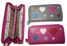 Mala leather Heart Motif large Purse Zip around concertina pink or grey wallet