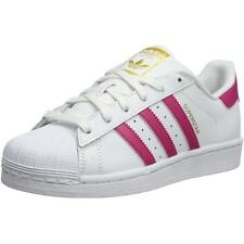Adidas Originals Superstar Youth White/Bold Pink Leather Trainers