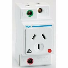 Hager DIN SOCKET 250V Double Poles, Auto Switch, White*German Brand - 10A Or 15A