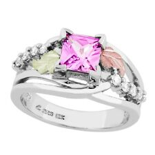 Black Hills Gold on Sterling Silver Pink Sapphire Ring Size 4 - 10
