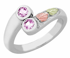 Black Hills Gold on Sterling Silver Ring with 2 Pink CZ Size 4 - 10