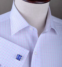 7 Day Crazy Sale - Light Pink Checkered Formal Business Dress Shirt White Solid