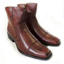NEW MENS  ANKLE BOOTS WESTERN COWBOY ZIPPERED LEATHER LINED DRESS SHOES /BROWN